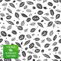 Foliage seamless pattern background with leaf silhouettes Royalty Free Stock Photos
