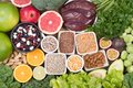 Folic acid food sources, top view Royalty Free Stock Photo