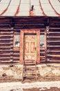 Folk architecture in Zdiar, Belianske Tatry, Slovakia, red filte