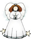 Folk Art Angel with candle Stock Image