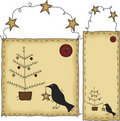 Folk Art Christmas Tree Banner and Tag Stock Photo