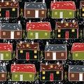 Folk Art Christmas Village Vector Pattern
