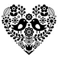 Folk art pattern with birds and flowers - Finnish inspired, Valentine`s Day