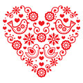 Folk art valentine s day heart love wedding birthday greetings card vector red with flowers and birds isolated on white Royalty Free Stock Photography