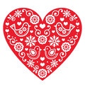 Folk art valentine s day heart love wedding birthday greetings card vector red with flowers and birds on white Royalty Free Stock Images