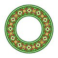 Folk black, green, yellow and red round ornament, vector design. Royalty Free Stock Photo