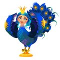 Folk character of the bird with a woman face isolated on white background. Prophetic Gamayun. Vector cartoon close-up Royalty Free Stock Photo
