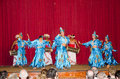 Folk dances in the local theater scene. Royalty Free Stock Photo