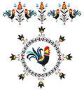 Folk decorations of roosters polish traditional design with floral and Stock Photography