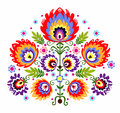 Folk embroidery flowers polish traditional pattern ornamental flower Stock Images