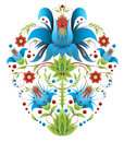 Folk embroidery with flowers - traditional ethnic pattern