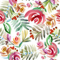 Folk floral ornament. Floral watercolor drawing. Royalty Free Stock Photo