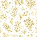 Folk flowers vintage raster seamless pattern. Ethnic floral motif white hand drawn background. Contour golden