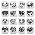 Folk hearts with flowers and birds buttons set vector of isolated on white art style Royalty Free Stock Photo