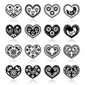 Folk hearts with flowers and birds icons set vector of on white art style Stock Images