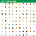 100 folk icons set, cartoon style