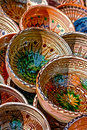 Folk pottery romanian traditional ceramic in the bowls form painted with specific reasons corund area transylvania Royalty Free Stock Image