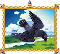 Folk raven illustration of the epic flying in thundercloud Stock Image