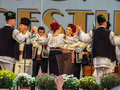 Folk traditional singers at Fair Bucharest 2016 Royalty Free Stock Photo