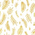 Folk vintage raster seamless pattern. Ethnic floral motif white hand drawn background. Contour tribal golden