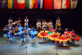 Folkart festival lent maribor group performing folk dance on main stage on folklore part of summer in slovenia Royalty Free Stock Photos