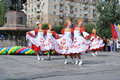 A folklore dancing group Stock Photography