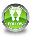 Follow (footprint icon) glossy green round button
