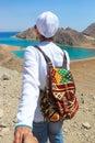 Nasledovať ma na more žena farbistý nadpis na more hory