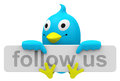 Follow us d generated picture of a bird with a fallow sign Stock Images