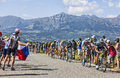 The followers col de manse france july a group of cyclists including velits peter omega pharma quick step team and tom dumoulin Stock Photo