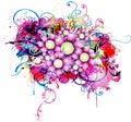 Fond abstrait avec l'élément floral Photographie stock