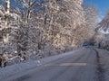 Fond d'image parfait de route de l'hiver Photo stock
