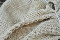 Fond de fragment de sac rugueux avec la couture Images stock