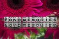 Fond memories text with flowers of red color in the backround Stock Image