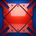 Fond rouge et bleu en métal d rendu Photographie stock libre de droits