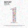 Fond social de network number avec des ic nes de media Photographie stock libre de droits