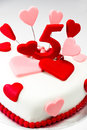 Fondant cake for valentines day decorated with red and pink heart Stock Photography