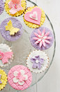 Fondant decorated cupcakes Stock Images