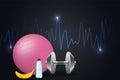 Fondo de la aptitud con pesas de gimnasia y la aptitud bola Foto de archivo libre de regalías
