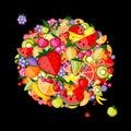 Fondo de la fruta de la energía para su diseño Foto de archivo libre de regalías