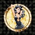 Fondo del partido del encanto con la mujer atractiva del baile Imagen de archivo libre de regalías