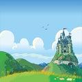 Fondo di fantasia con il fumetto di vettore del castello Fotografia Stock Libera da Diritti