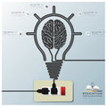 Fondo di infographic di istruzione di brain light bulb electric line Fotografia Stock