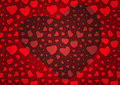 Fondo rojo de día de tarjeta del día de san valentín con los corazones Imagenes de archivo