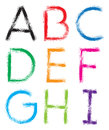 Font alphabet letters a i the is drawn with brush color can be changed easily Royalty Free Stock Photo