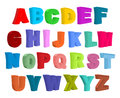 Font children. Colorful alphabet. Letters in child style.