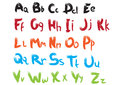 Font color alphabet cursive by hand Royalty Free Stock Photography
