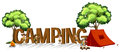 Font design for word camping with kids and tent Royalty Free Stock Photo