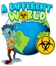 Font design for word different world with zombie on earth Royalty Free Stock Photo