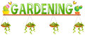 Font design for word gardening with flower pots